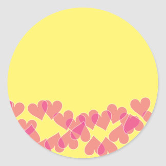 Hearts on Yellow Stamps Round Sticker