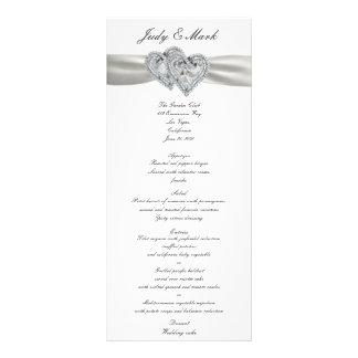 Hearts White Wedding Menu Card Rack Card