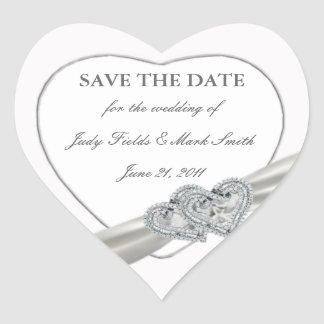 Hearts White Wedding Save The Date Stickers