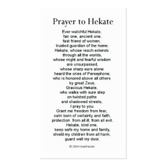Hekate Prayer Card Pack Of Standard Business Cards