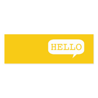 """""""Hello"""" Speech Bubble Pack Of Skinny Business Cards"""