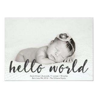 Hello World Baby Photo Birth Announcement