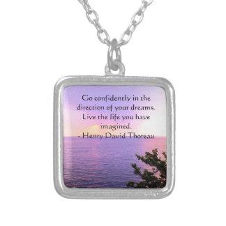 Henry David Thoreau QUOTATION Square Pendant Necklace