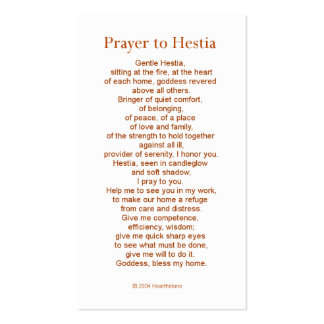 Hestia Prayer Card Pack Of Standard Business Cards