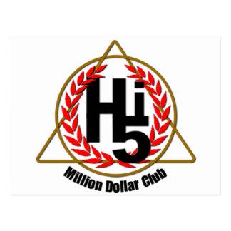 Hi 5 Million Dollar Club Postcard