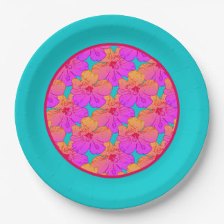 Hibiscus Flowers Pink on Turquoise 9 Inch Paper Plate