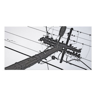 High Voltage - black and white industrial photo Personalized Photo Card