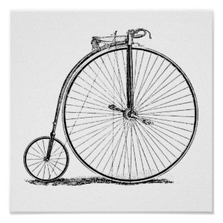 High Wheeler Victorian Penny Farthing Cycle Biking Poster