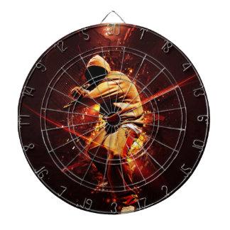 hip-hop breakdancer on fire dart boards