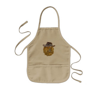 Hipster Funny Lion Cat Kids Apron