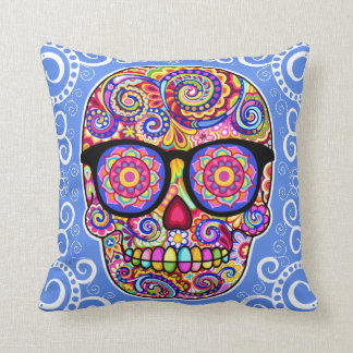 Hipster Sugar Skull Pillow - Day of the Dead Art Cushions