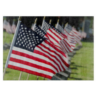 Historic military cemetery with US flags Cutting Board