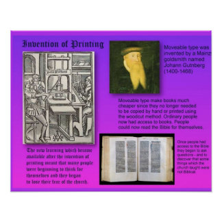 History Invention of printing Poster