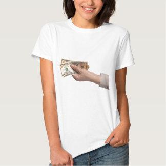 Holding money tee shirts