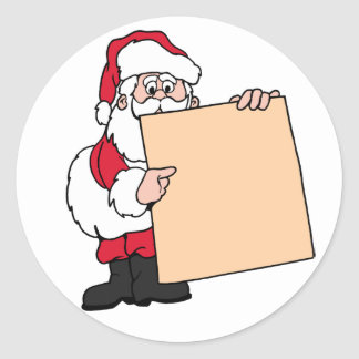 Holiday Party Name Tag Santa Claus Round Sticker