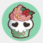 Holiday Skull Cupcake Round Sticker