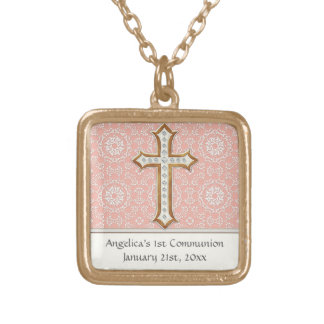 Holy First Communion Gold Golden Cross Lace Girl Square Pendant Necklace