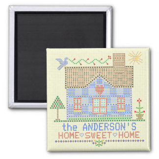 Home Sweet Home Cross Stitch House Personalized Square Magnet