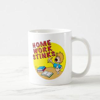 Homework Stinks! (boy) Basic White Mug