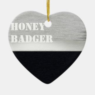 Honey badger ceramic heart decoration