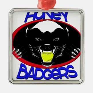 Honey Badger Softball Silver-Colored Square Decoration