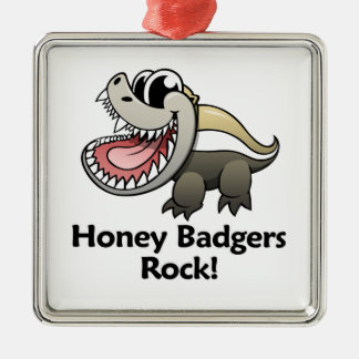 Honey Badgers Rock! Silver-Colored Square Decoration