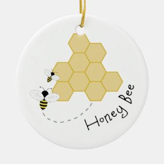 Honey Bee Round Ceramic Decoration