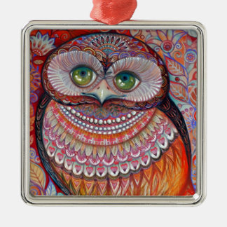 Honey gold owl Silver-Colored square decoration
