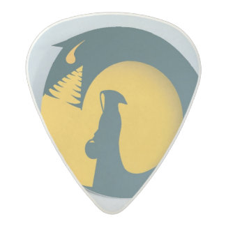 Hooded Figure with Monster Shadow Acetal Guitar Pick