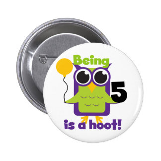 Hoot Owl 5th Birthday T-shirts and Gifts 6 Cm Round Badge