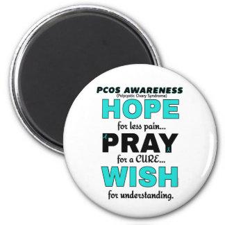 Hope Pray Wish...PCOS 6 Cm Round Magnet