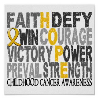 Hope Word Collage Childhood Cancer Poster