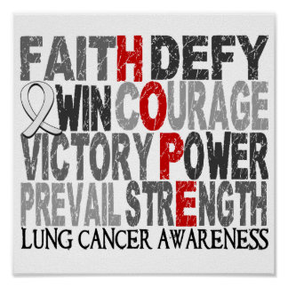 Hope Word Collage Lung Cancer Poster