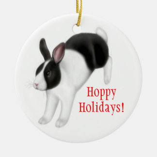 Hopping Bunny Rabbit Holiday Ornament