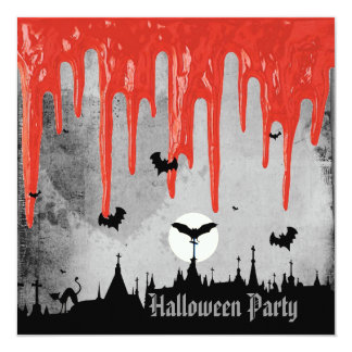 Horror Blood & Bats Halloween Party 13 Cm X 13 Cm Square Invitation Card
