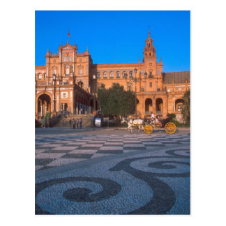 Horse drawn carriage in the Plaza de Espana in Postcard
