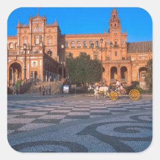 Horse drawn carriage in the Plaza de Espana in Square Sticker