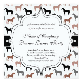 Horse Lover's Pattern 13 Cm X 13 Cm Square Invitation Card