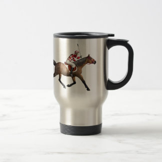 Horse Racing Jockey and Horse Stainless Steel Travel Mug