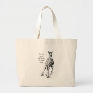 Horses Leave Hoofprints On Your Heart: Pencil Art Jumbo Tote Bag