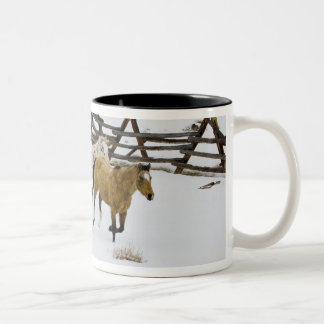 Horses Running in Snow Two-Tone Mug