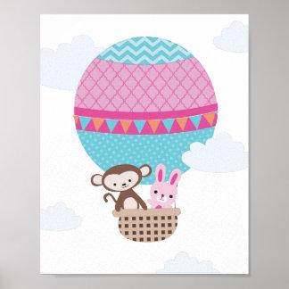 Hot Air Balloon Monkey and Bunny Nursery Art Poster