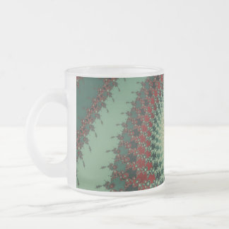 Hot Peppery Spicy Fractal - green and red Frosted Glass Mug