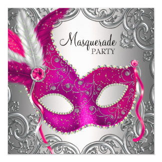 Hot Pink and Silver Mask Masquerade Party 13 Cm X 13 Cm Square Invitation Card