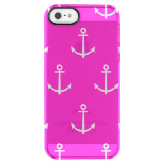 Hot Pink and White Anchors Pattern 1 Clear iPhone SE/5/5s Case
