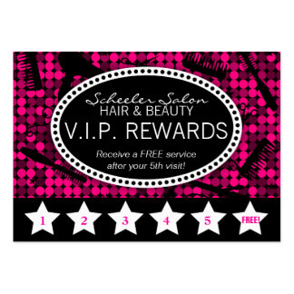 Hot Pink & Black Glam Custom Salon Loyalty Card Pack Of Chubby Business Cards