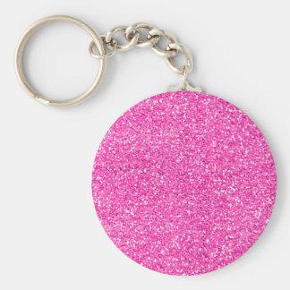 Hot Pink Glitter Basic Round Button Key Ring