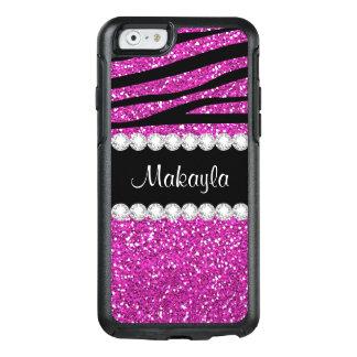 Hot Pink Glitter Black Zebra Otter iPhone 6 Case