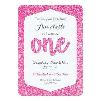 "Hot Pink Glitter ""One"" First Birthday Card 13 Cm X 18 Cm Invitation Card"