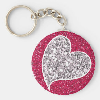 Hot Pink Glitter with Sparkle heart Basic Round Button Key Ring